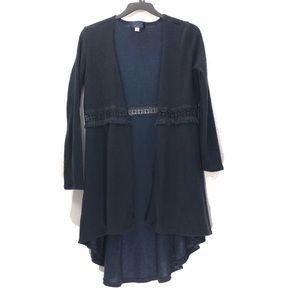 Blue Rain Crochet Waist Knit Duster Cardigan